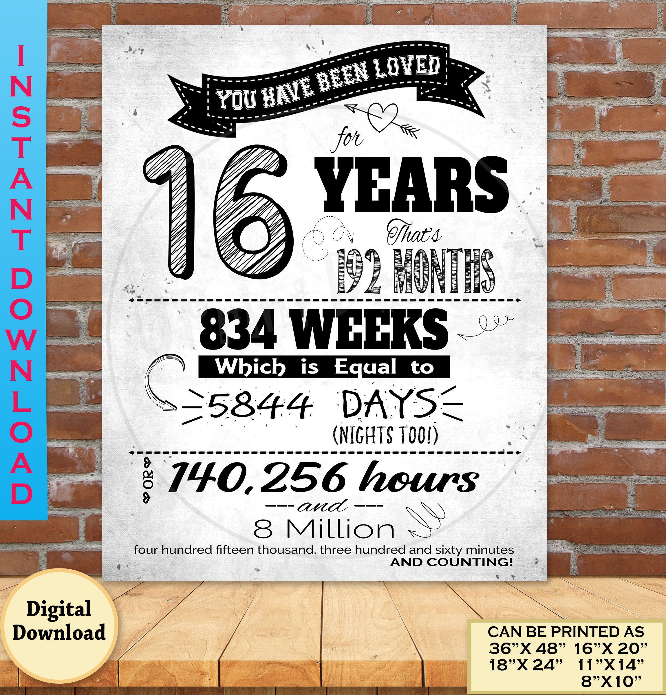 16th Birthday You Have Been Loved Printable Poster Sweet 16