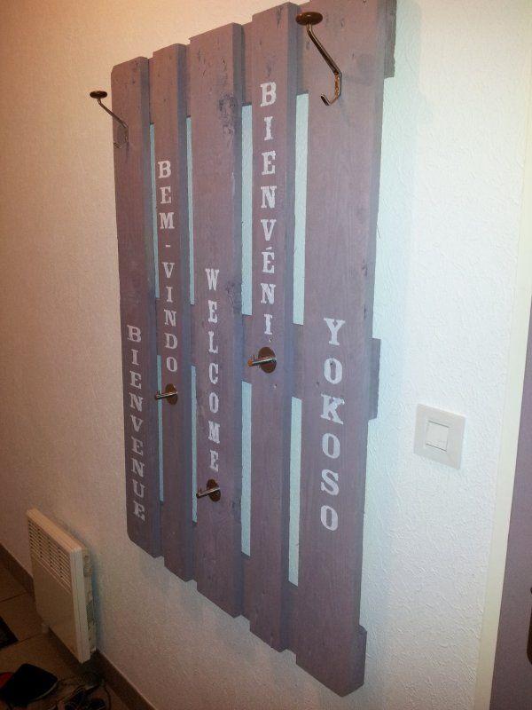 porte manteau recup palette home made pallets. Black Bedroom Furniture Sets. Home Design Ideas