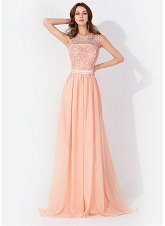 fashion chiffon lang brautjungfernkleider mit spitze etuikleider bodenlang kleiderschneller