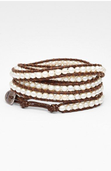 Leather And Gold-tone Beaded Wrap Bracelet - Beige Chan Luu dTvJiQ