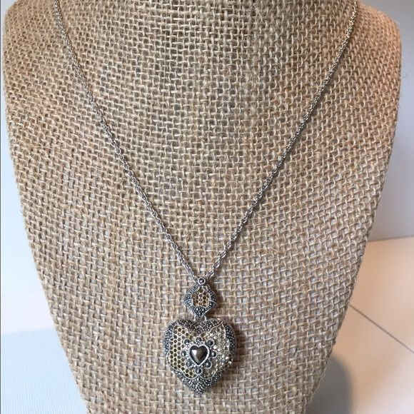 Nordstrom heart pendant. Silver, gold and crystal heart pendant. Beautiful detail. Like new. Nordstrom Jewelry