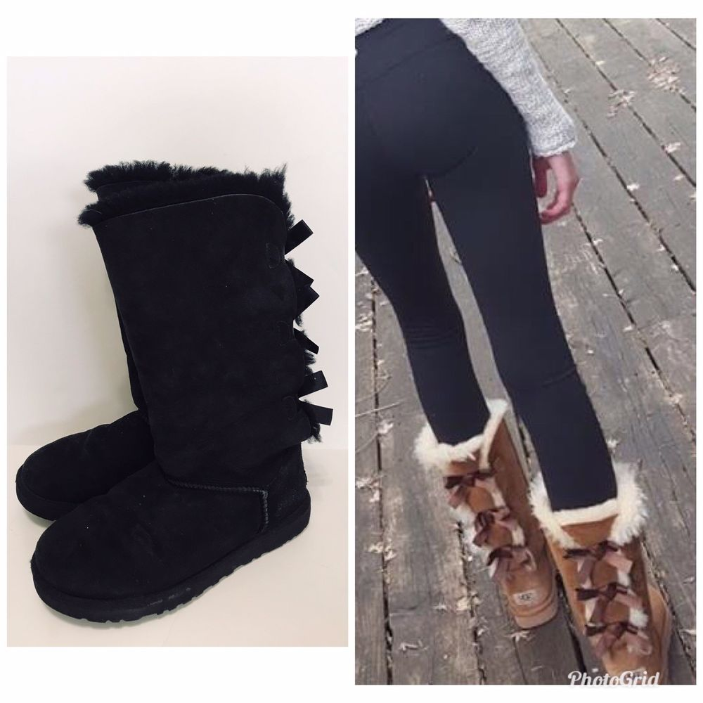 5ce4435ff88 UGGS Bailey Bow II Tall Women Sz US 7 EU 38 Black Pull On Shearling ...