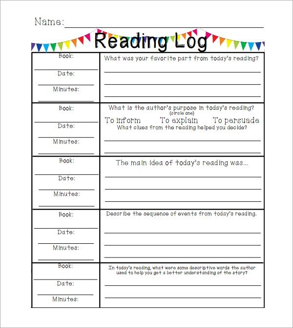 Reading Log Template Elementary  Reading    Reading