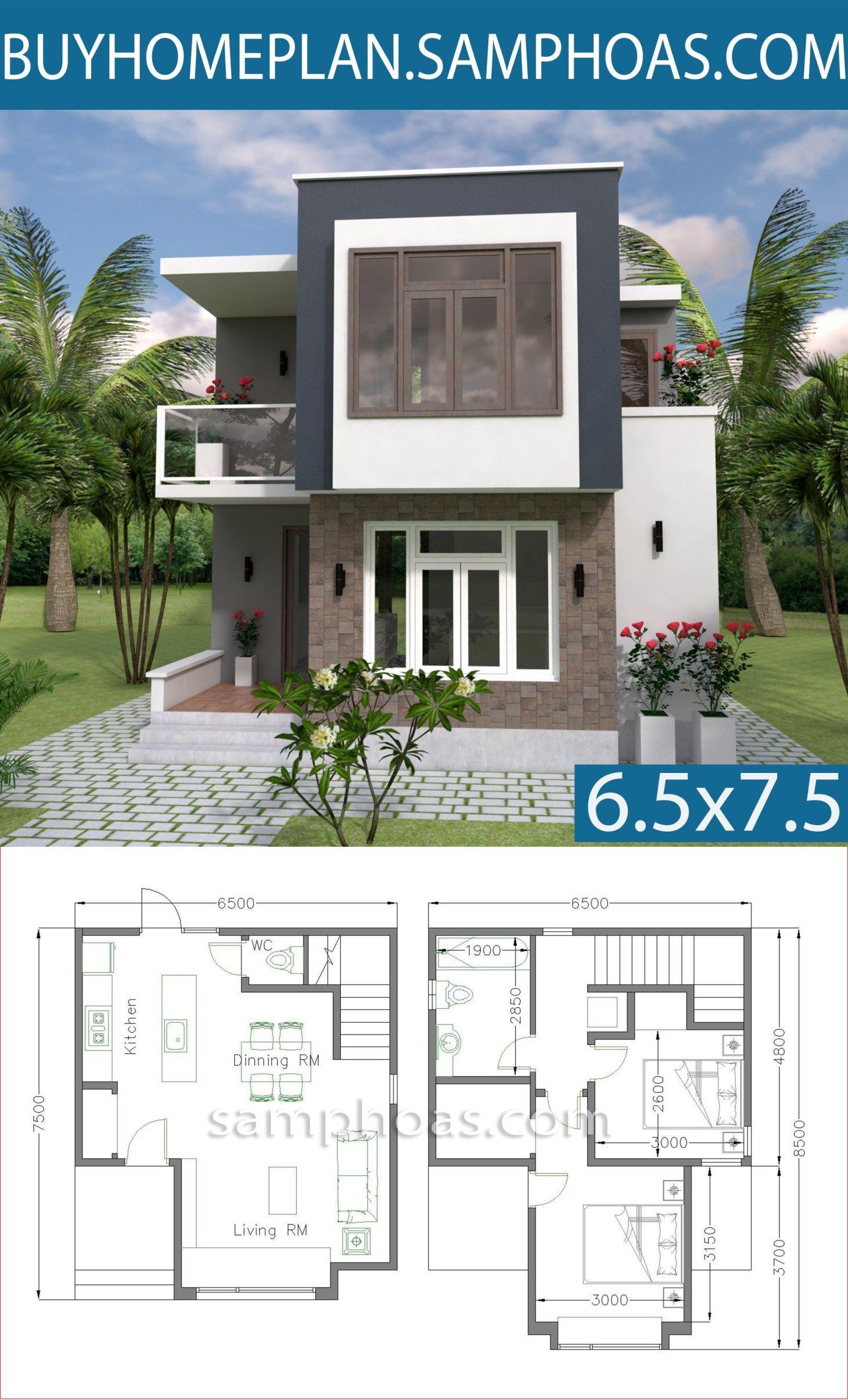 Small House Design With Full Plan 6 5x7 5m Samphoas Com Small House Design House Design Dream House Plans