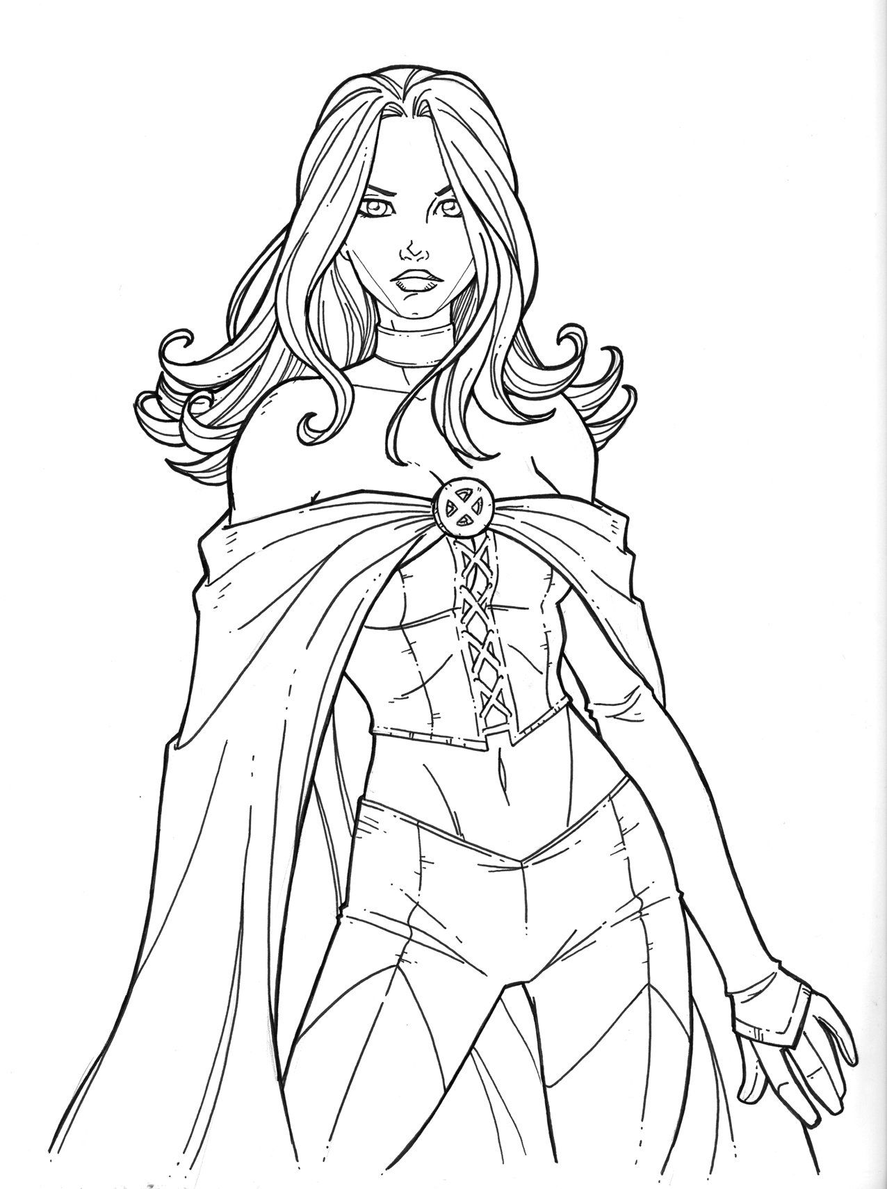 emma frost's new uniform by JamieFayX Coloring pages