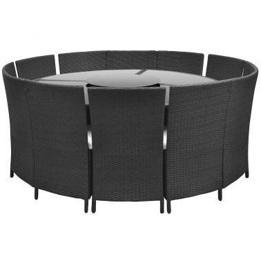 Polyrattan 12 Personen Runder Tisch Und Stuhle Set Schwarz 3 8 Garten Essgruppe Essgruppe Rattan