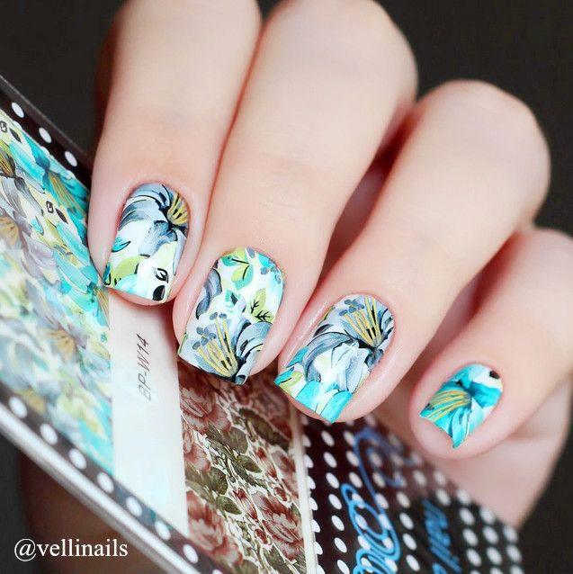 Born pretty bp-w14 colorata pittura di fiori nail art decalcomanie acqua trasferimenti stickers #20605