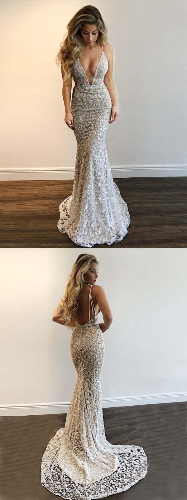 Mermaid deep vneck backless sweep train silver lace prom dress