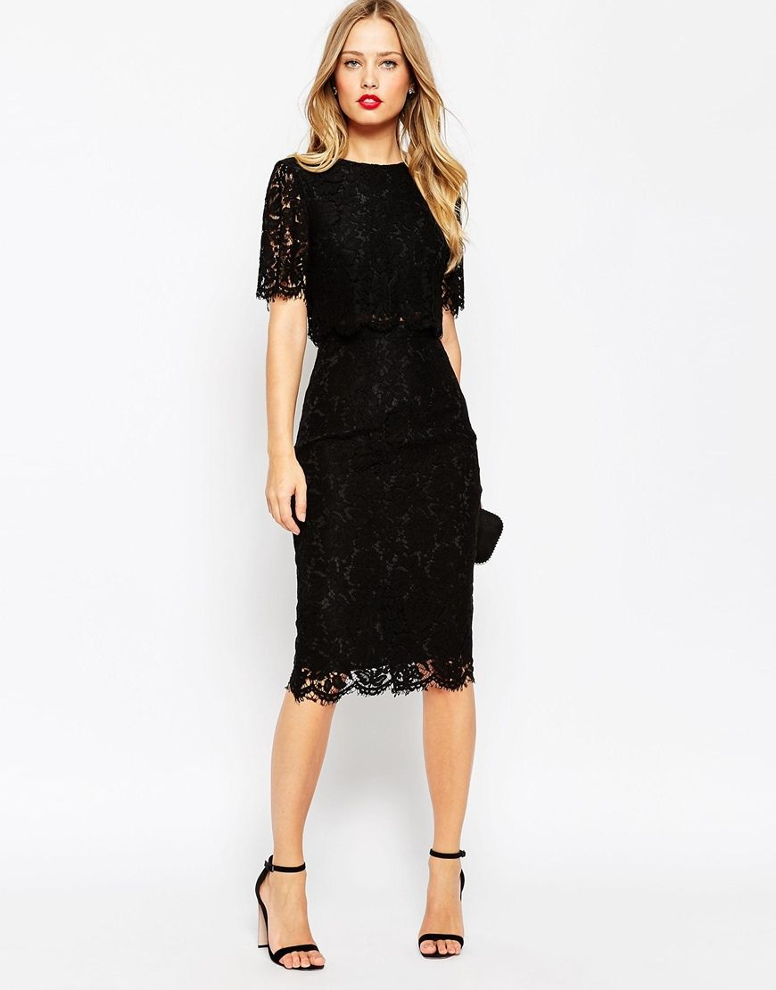 Asos Lace Crop Top Midi Pencil Dress Black Lace Midi Dress