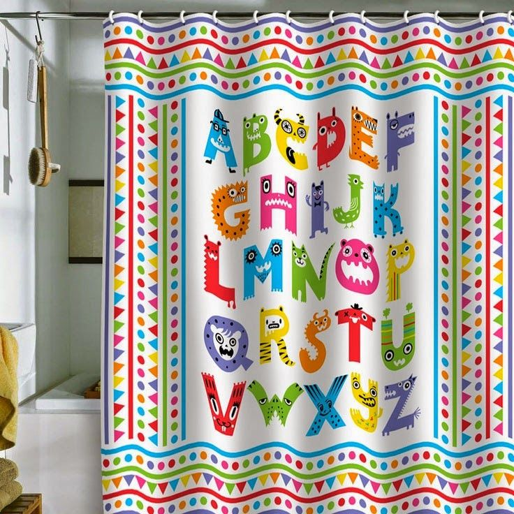 Curtain Ideas Alphabet Themed Shower Curtains Kids Shower