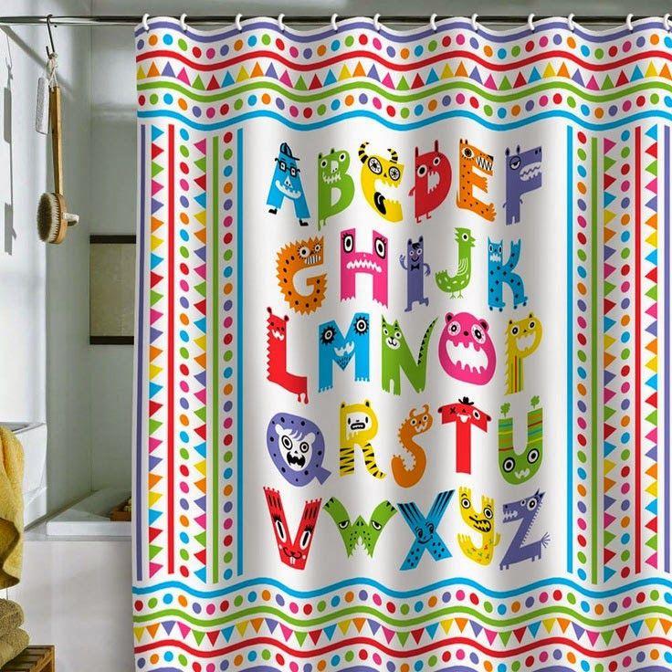 Curtain Ideas Alphabet Themed Shower Curtains Kids Shower Curtain Kid Bathroom Decor Kids Bathroom Shower Curtain