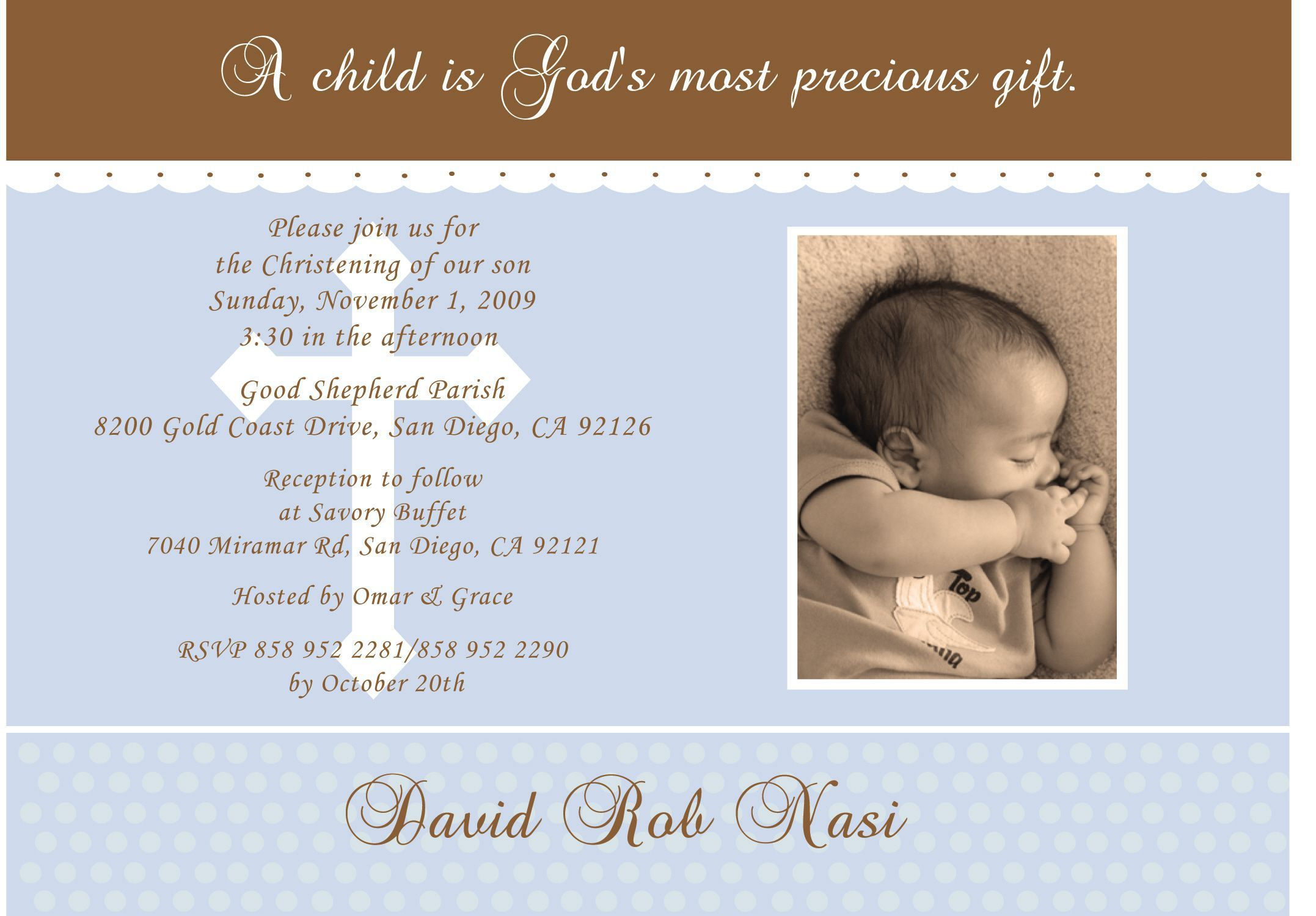 Baptism Invitation Wording Including
