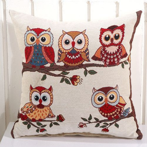 19 Models Owls Emroidery or Print Cotton 45*45 Cushion Cover Pillow Case