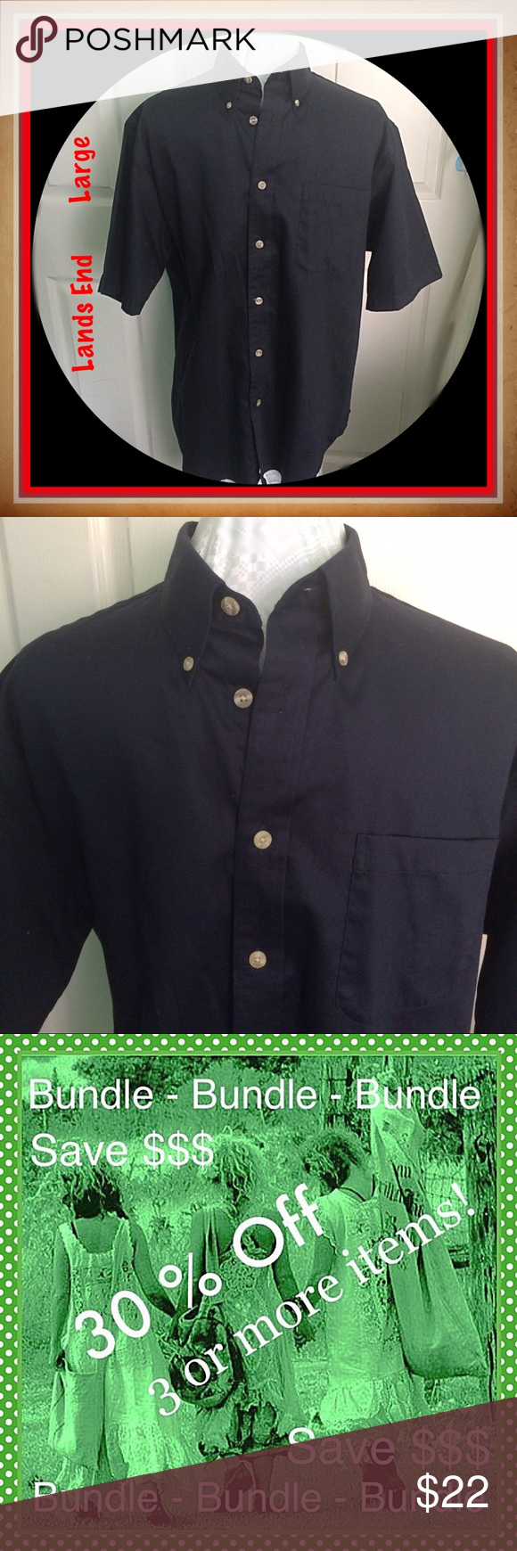 Lands End / Black Short Sleeve Shirt / Size Large Lands End / Black Short Sleeve Shirt / Size Large - 16-16 1/2 / 100% Cotton. Please feel free to make an offer - Enjoy BIG discounts on bundles & save $$$ on shipping! I package safely & ship fast.  TY & Happy Poshing! 💜💜💜 C8 Lands' End Shirts Casual Button Down Shirts