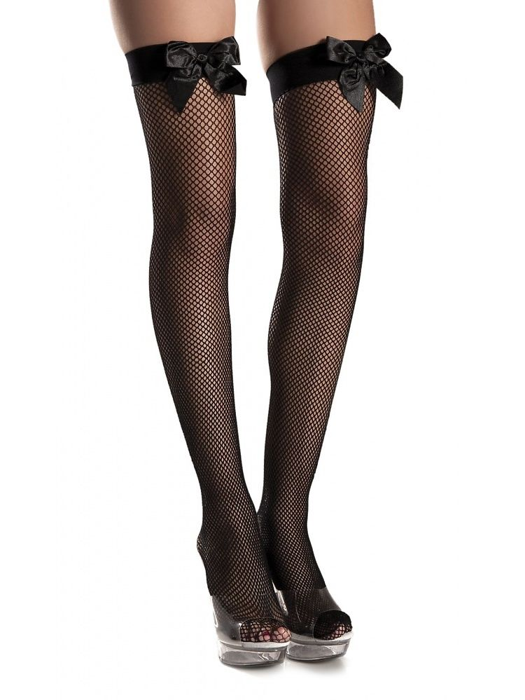 7c41affcc15 Fishnet Satin Bow Thigh High Stockings Adult Hosiery Black - One Size#Thigh,  #High, #Bow