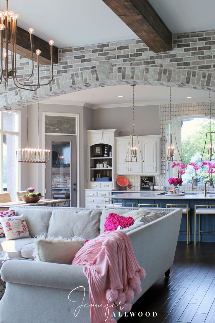 Ideas : Fuchsia + Gray Living Room Decor with hickory hardwood flowers. Lived in Luxe + Comfy Glam Home Design Style by Jennifer Allwood Brick Archway Interior Makeover light brick archway in living room, Brick Archway Interior Makeover, Brick Archway Designs, Br
