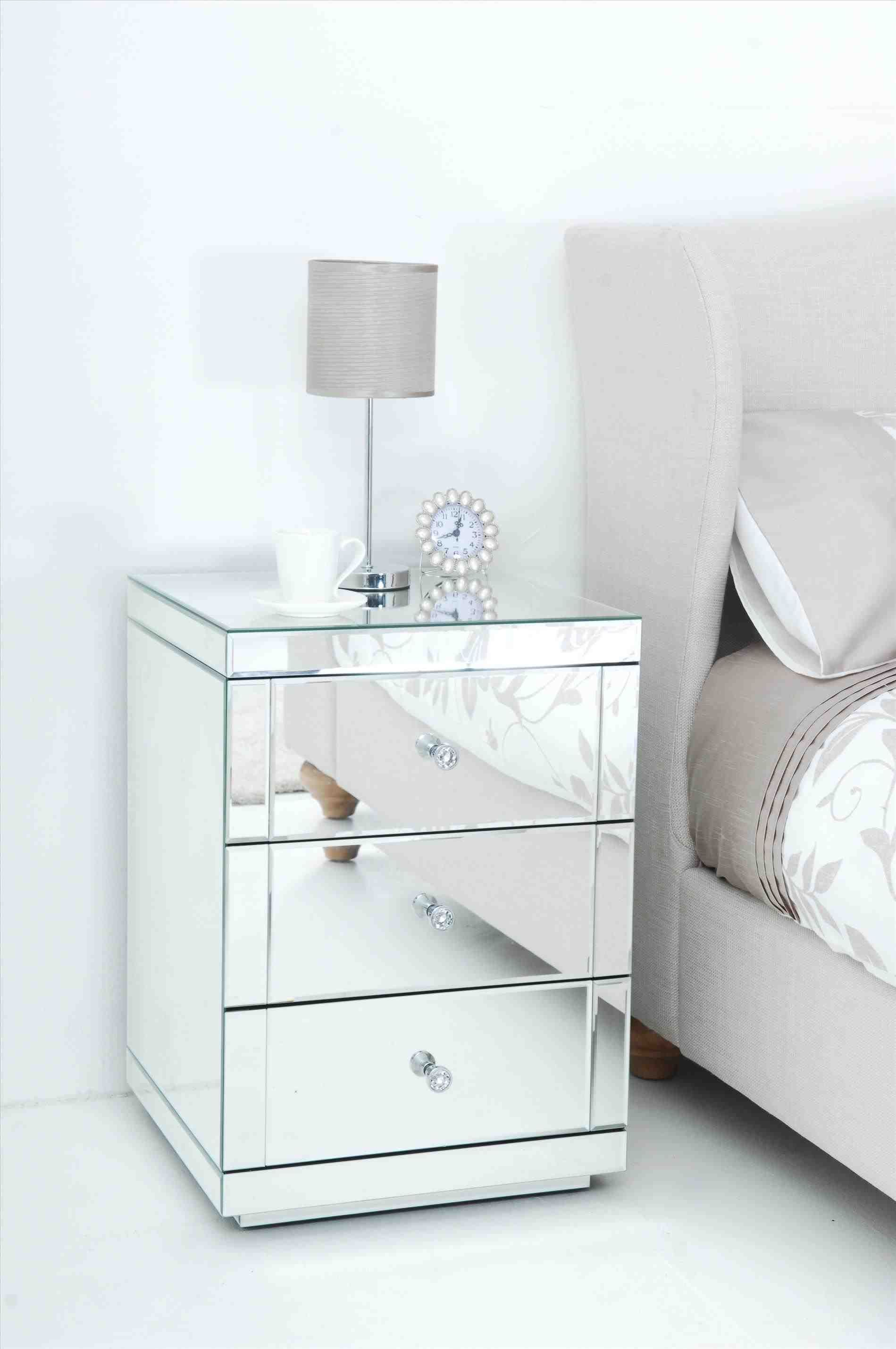 New White Mirrored Bedside Table At Temasistemi