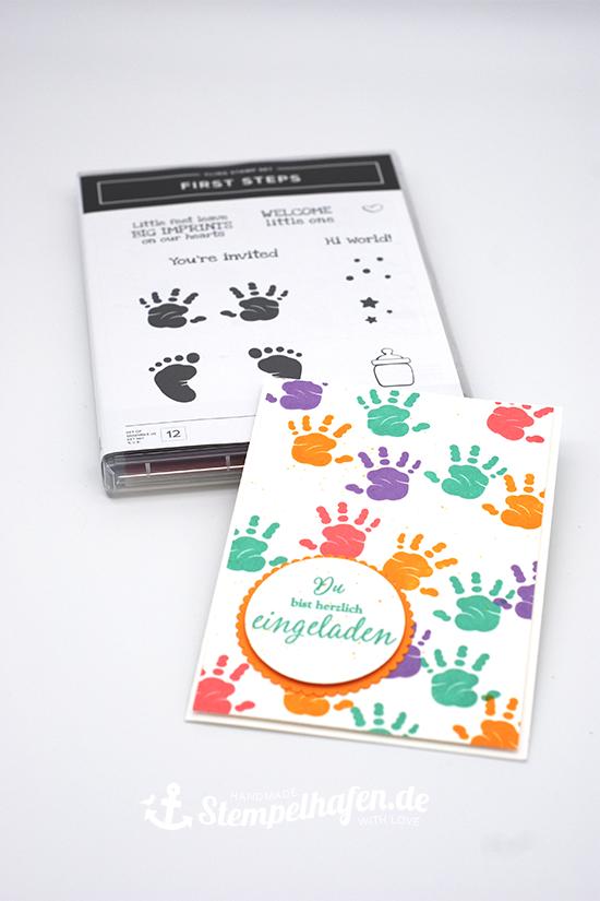 Photo of Einladungskarte zum Kindergeburtstag mit dem Stempelset First Steps von Stampin' Up!