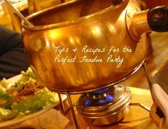 Tips for throwing the perfect #fondue party & delicious recipes for cheese fondue (the best EVER) and a healthy roasted garlic and onion broth for meats. #brothfonduerecipes
