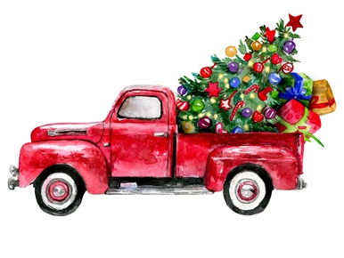 Red Truck Holiday Christmas Digital Png Christmas Red Truck Christmas Truck Christmas Illustration