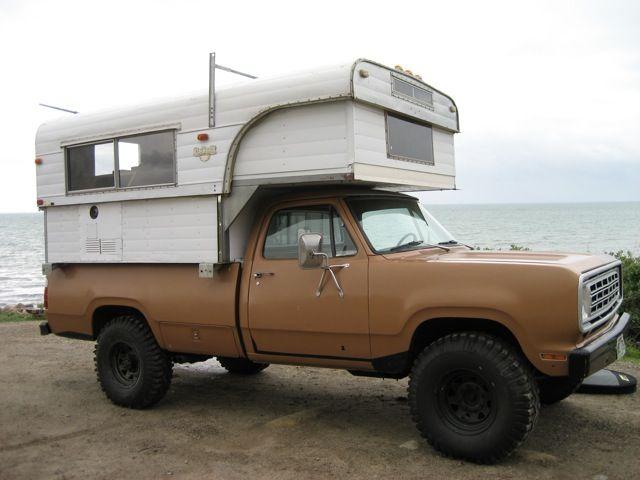 1974 8 Ft Cabover On 75 Power Wagon Pickup Camper Slide In