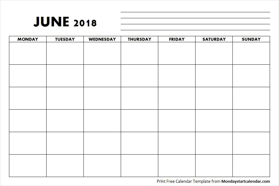 Blank June 2018 Calendar Monday Start June 2018 Pinterest June