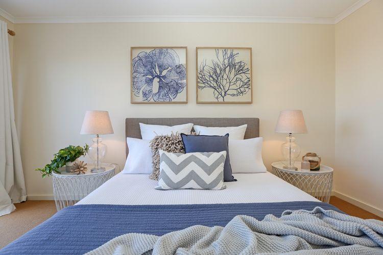 Navy Blue Bedside Table: Shabby Chic, Coastal, Beach Style, Hamptons, Master