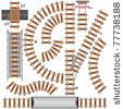 Railroad isolated elements for create your own railway siding. Detailed vector illustration include: train bridge, railroad signal, railway crossing, rail sections, junction... by PILart, via ShutterStock