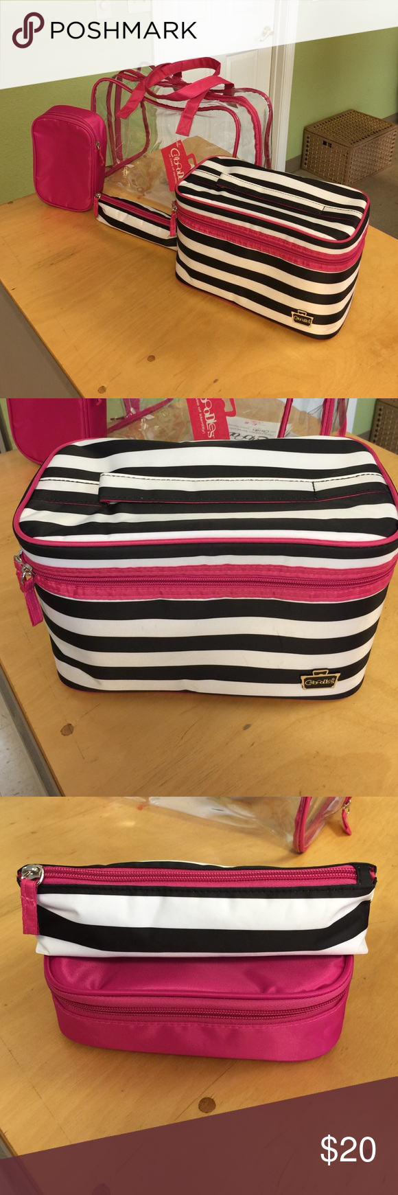 Caboodles travel case w/ travel makeup bags Cosmetic bags include: 1 large clear tote, 1 soft sided train case, 1 compact valet, 1 brush case caboodles  Bags Cosmetic Bags & Cases