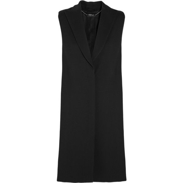 Alexander McQueen Wool and silk-blend gilet (2.765 BRL) ❤ liked on Polyvore featuring outerwear, vests, coats, vest, long wool vest, long blazer jacket, alexander mcqueen, wool vest and alexander mcqueen vest