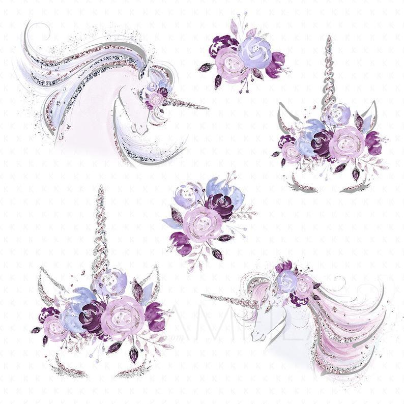 Watercolor Unicorn Clipart Floral Unicorn Face Clipart | Etsy