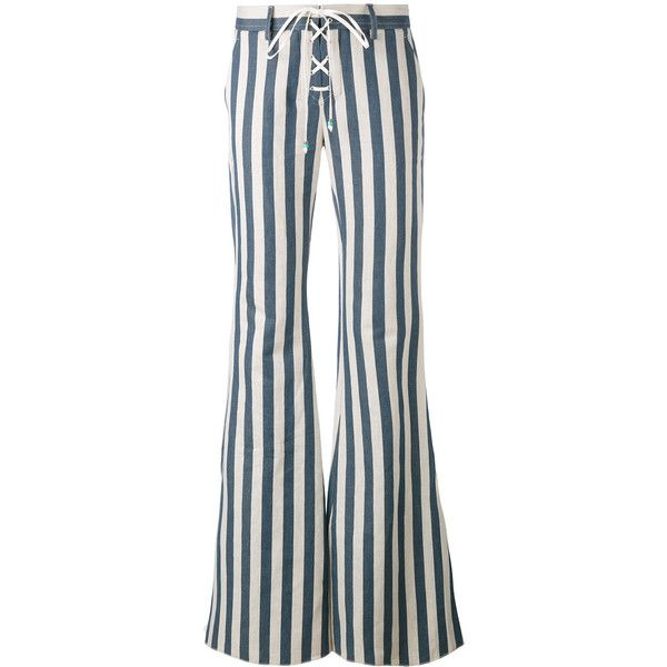 Roberto Cavalli striped flared trousers (€1.080) ❤ liked on Polyvore featuring pants, blue, stripe pants, white pants, white striped pants, striped trousers and blue trousers
