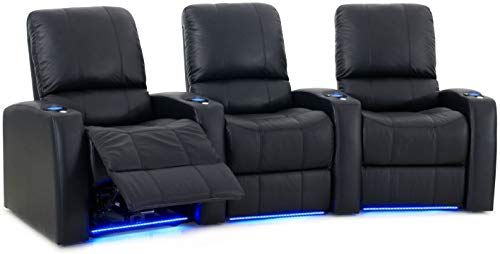 Best Seller Octane Seating Blaze XL900 Home Cinema Recliners Black Premium Leather – Memory Foam – Power Recline – Curved Row 3 Seats online
