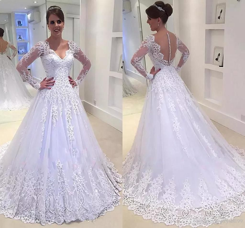 Romatic sparkly wedding dresses lace appliques long sleeves a