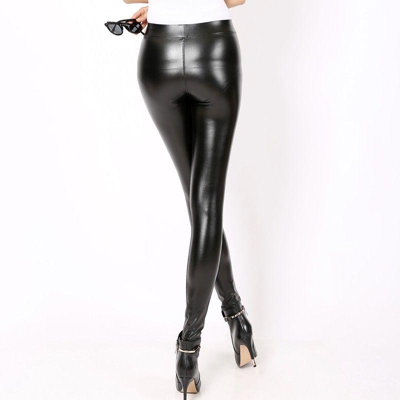 Women PVC Leather Wet Look Panel Ladies Skinny Fit Elastic High Waisted Leggings