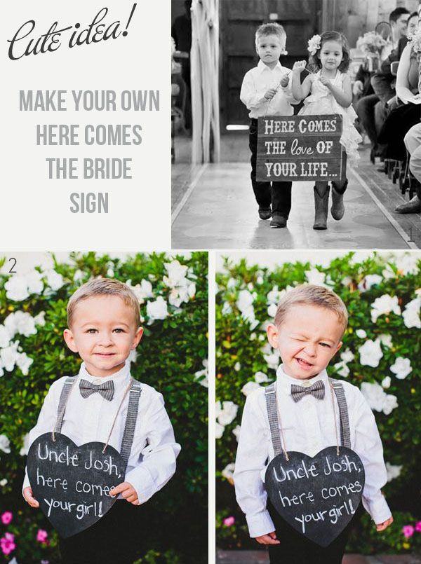 Here Comes The Bride Signs Rustic Wedding