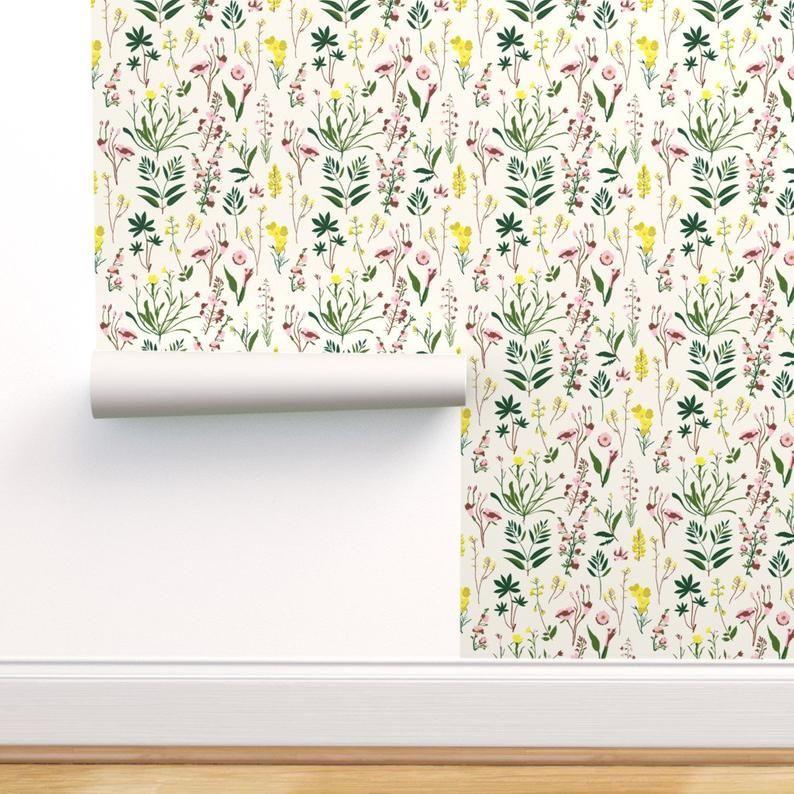Boho Wallpaper Wildflower Study Light By Holli Zollinger Etsy Boho Wallpaper Peel And Stick Wallpaper Self Adhesive Wallpaper