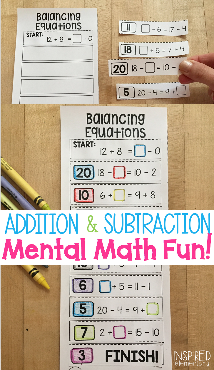 Balancing Equations - Addition and Subtraction - Mental math puzzles that  are fun and hands-
