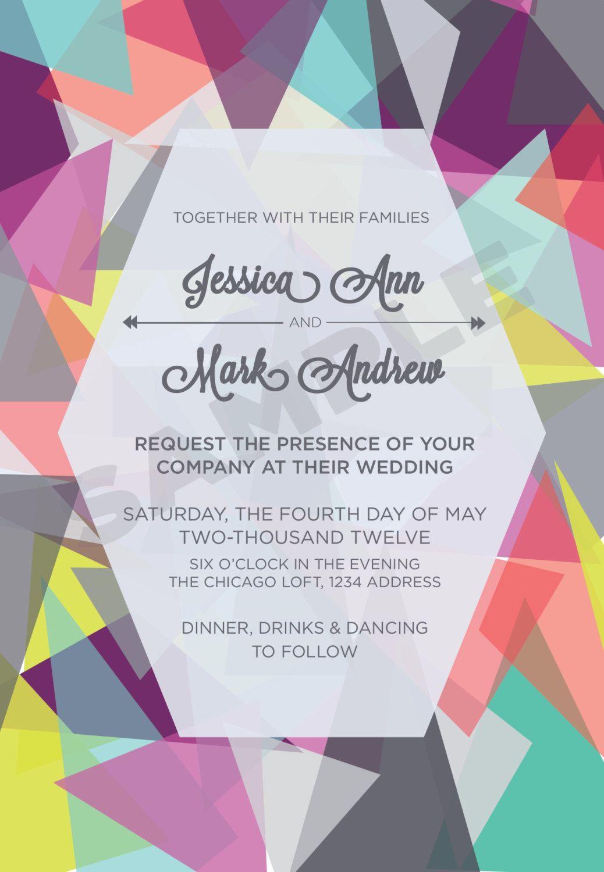 Colorful Graphic Wedding Invitation or Signage, Customizable, via ...