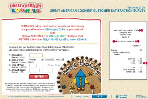 Great American Cookies Customer Satisfaction Survey Www