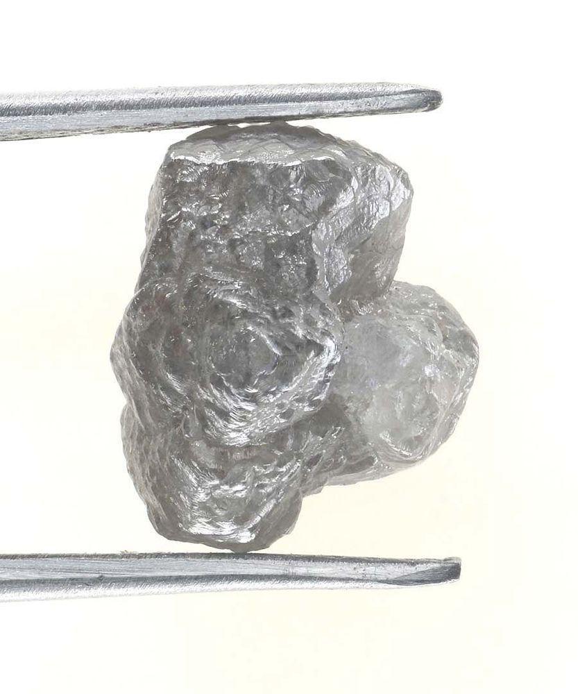 Genuine 5.12 TCW Natural SilverGray Color Rough Diamond for Jewel
