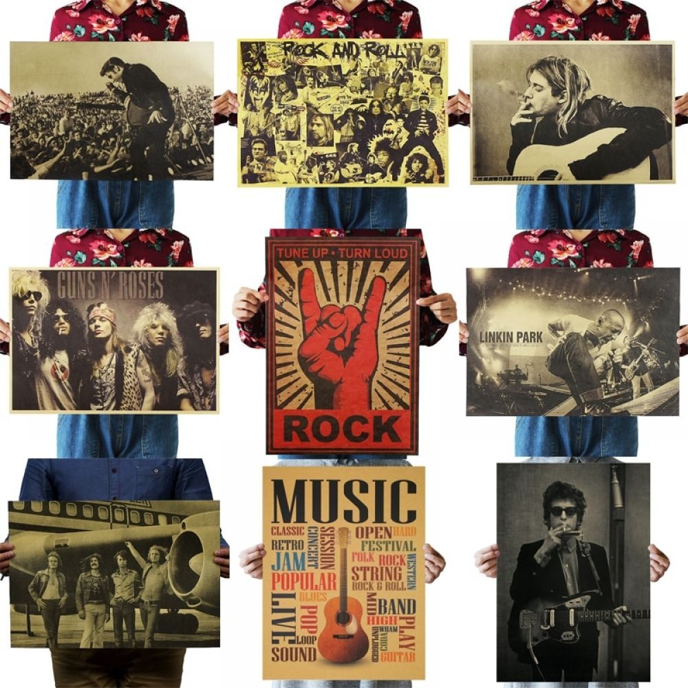 Nostalgic Rock Band Kraft Paper Poster Fraser S Home Garden Rock Band Posters Retro Poster Band Posters