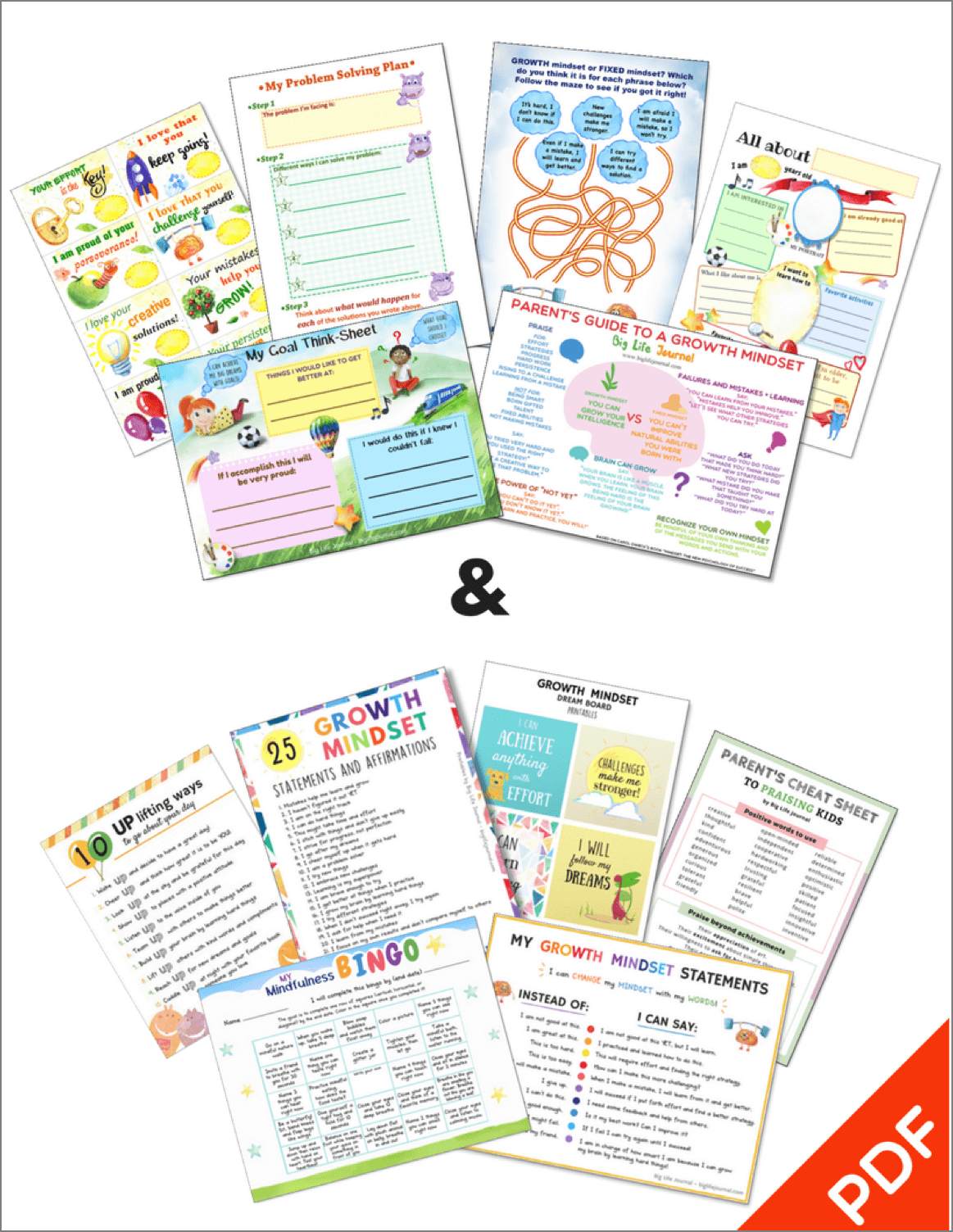 Growth Mindset Printables Kit Ages 5 11