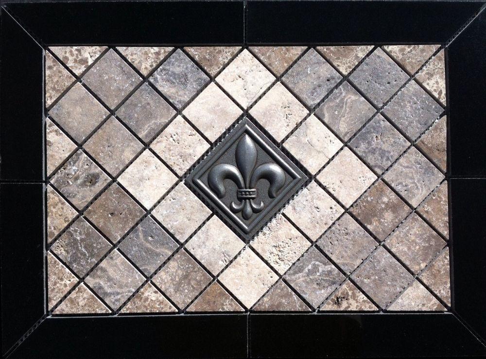 21 1 2 X 15 5 8 Stone Absolut Black Granite Medallion Fleur De Lis Accent