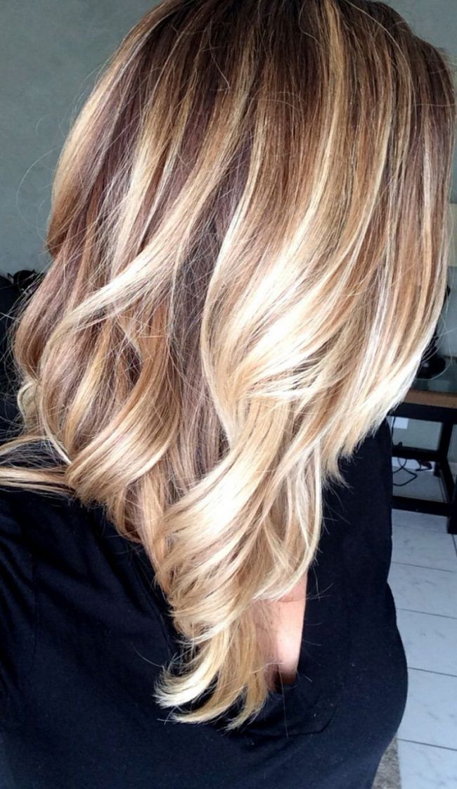 balayage technik haare highlights blond braun mittellang frisch wed hair pinterest blond. Black Bedroom Furniture Sets. Home Design Ideas