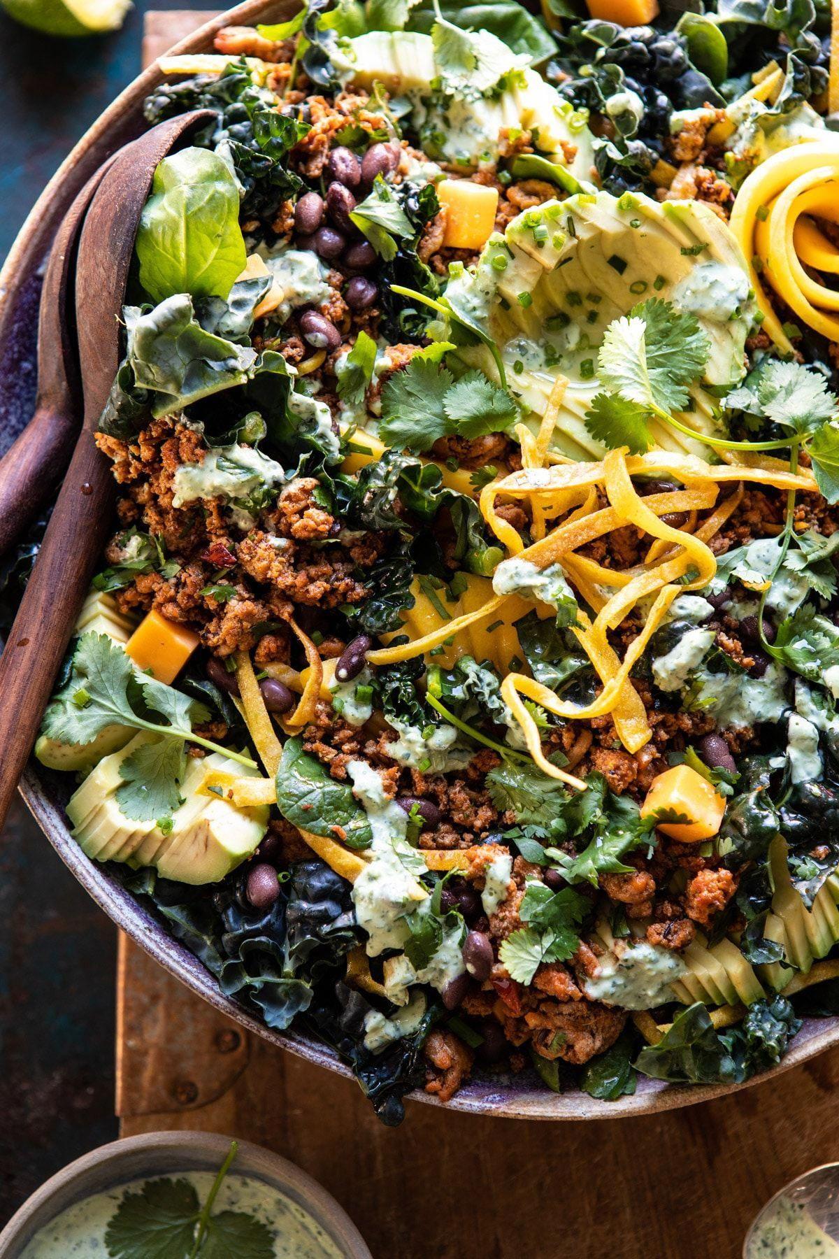Spicy Turkey Taco Salad with Baja Dressing |