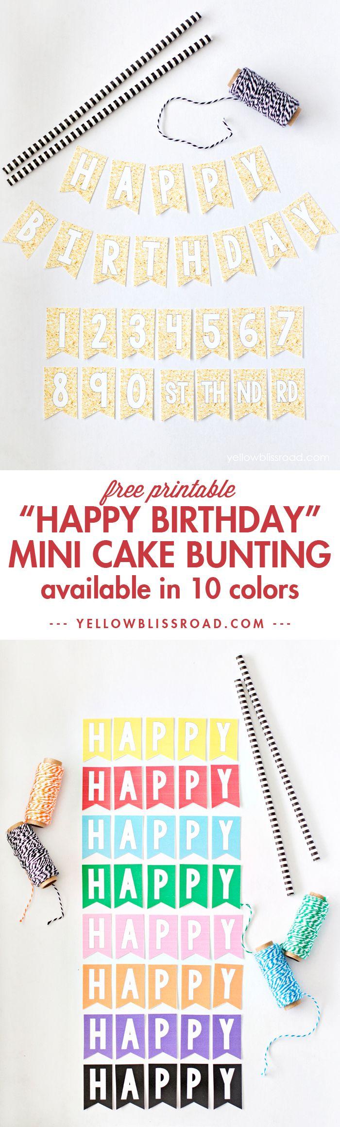 Free Printable Mini Birthday Bunting