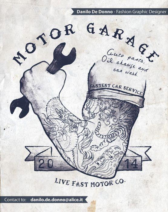Motor Garage - t-shirt print - fashion graphic design