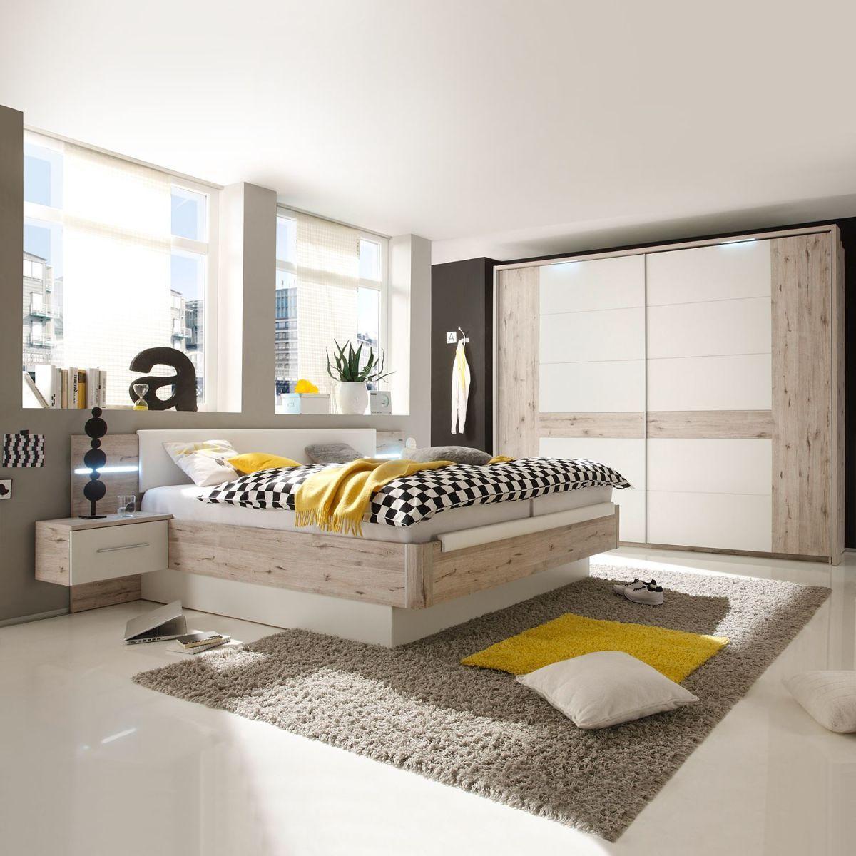 EEK A+, Schlafzimmerset Penai (4-teilig) - Weiß / Sandeiche Dekor ...