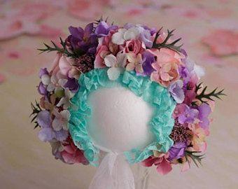 Sitter bonnet, floral bonnet, flower hat, photo props, photography prop, sitter, flower crown, props shoot